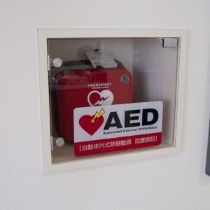 AED(自動体外式除細動器):致死的不整脈(心室細動や心室頻拍)のため心肺停止状態にある患者様に対し、機器が不整脈の自動解析を行い必要に応じて電気ショック(除細動)を与え、心臓の動きを回復させる医療機器です。緊急時に速やかに対応が出来るよう用意しております。